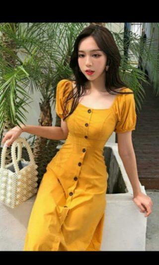 时尚女装新款初春小性感chic复古修身方领单排扣连衣裙高腰A字裙