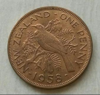 New Zealand 1958 Penny Unc Coin