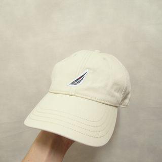 三件7折🎊 Nautica 老帽 彎帽 鴨舌帽 淺卡其 電繡logo 極稀有 老品 復古 古著 Vintage