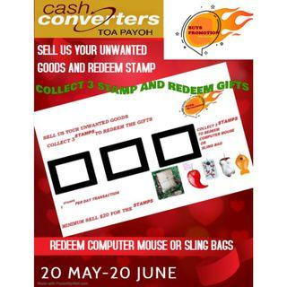 BUYS PROMOTION TOA PAYOH  SELL US YOUR UNWANTED GOODS AND REDEEM A GIFT FOR YOUR LOVE ONE  PROMOTION START FROM 20 MAY TO 20 JUNE  FOR DETAIL PLEASE CONTACT TOA PAYOH CASH CONVERTE