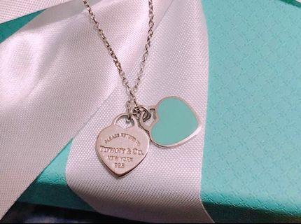🚚 【保證真品】Tiffany & Co. 純銀藍琺瑯雙心項鍊