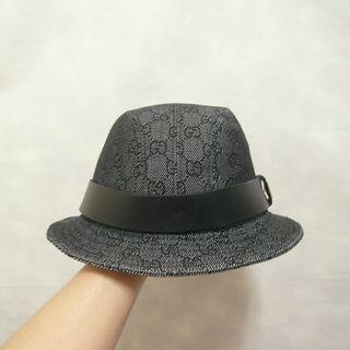 三件7折🎊 Gucci 紳士帽 漁夫帽 老帽 黑 滿版logo 極稀有 義大利製 老品 復古 古著 Vintage