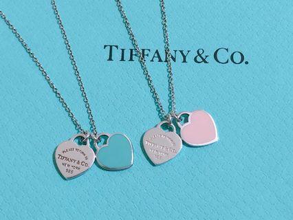 🚚 【保證真品】Tiffany & Co. 純銀琺瑯雙心項鍊