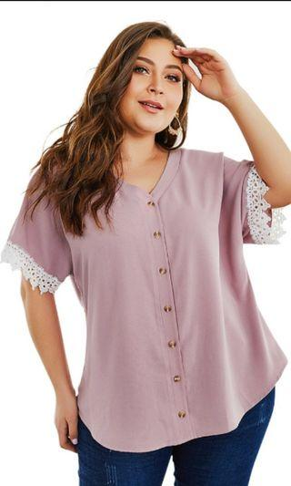 Plus Size Korean Blouse Lovely Pink for Sweet Woman Size 2XL