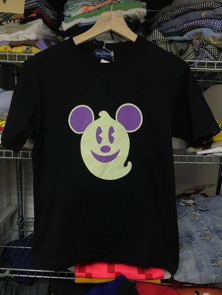Halloween Disney Tokyo resort mickey ghost Minnie black t shirt tee top古著上衣夜光