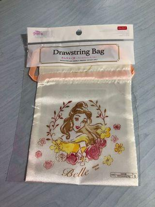 Daiso Disney Princess Belle Drawstring Bag Beauty and the Beast
