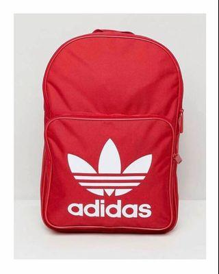 ADIDAS. ADIDAS Original Large Trefoil Logo Backpack in Red. INNER LAPTOP SLEEVE  FOR 15inch laptop or Tablet. Unisex Backpack. AUTHENTIC