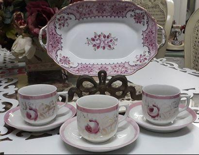 Pink & White Set with Folkart Roses