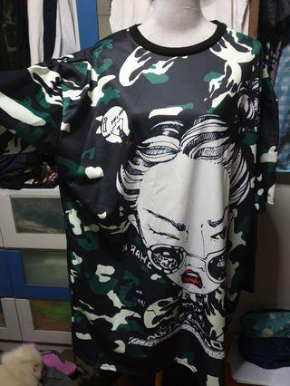 Long top camo plus size