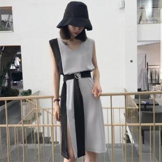 Two-tone Slit Dress