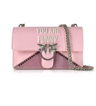 PINKO Love Funny Pink Eco Leather Shoulder Bag燕子包