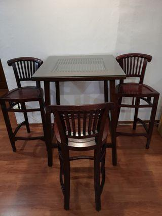 Solid wood bar table set with 3 chairs