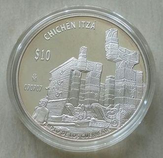 Mexico Chichen Itza $10 2 oz Silver Coin With Presentation Box