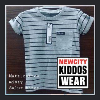 Tshirt Anak Stripe / Salur Grey murah adem nyaman