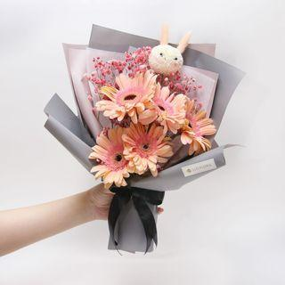 🚚 Pink Bunny Bouquet with Peach Daisies