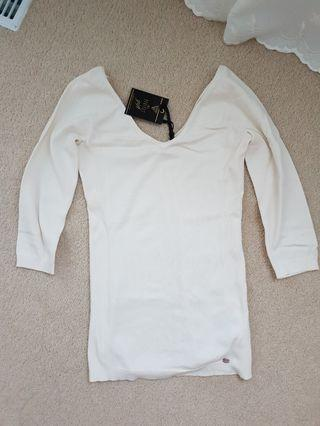 Guess off the shoulder cream sweater XS
