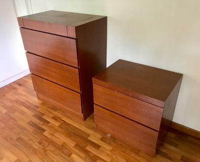 Custom Bedside Table and Chest of Drawers with Vanity