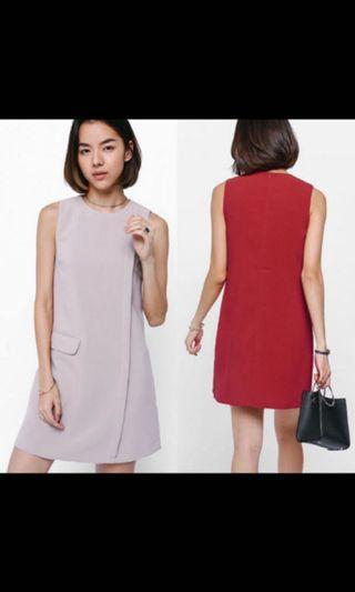 LB Agosta Asymmetrical Pocket Dress (Pink)