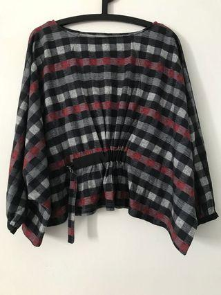 Bysi Checkered Batwing Top