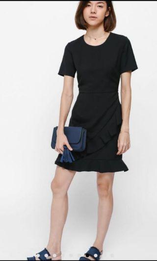 LB Ashkayn Asymmetrical Ruffle Hem Dress (Black)