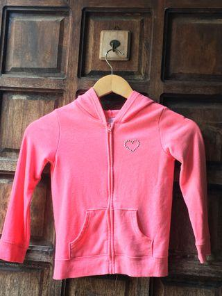 Neon pink sweater with hood