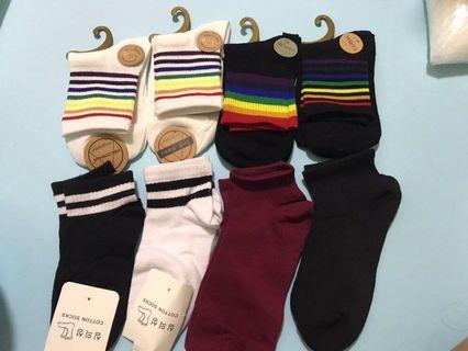 BNIP socks clearance sale cheap striped rainbow ulzzang cute casual long socks mid socks ankle socks bn brand new