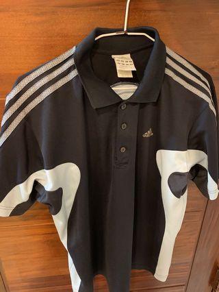 adidas 愛迪達古著polo衫 藍黑 M號