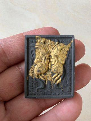Butterfly amulet with nine tailed fox (black)