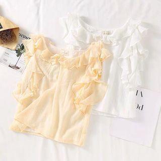 🚚 Ruffle Sleeveless Chiffon Crop Top in Pale Yellow
