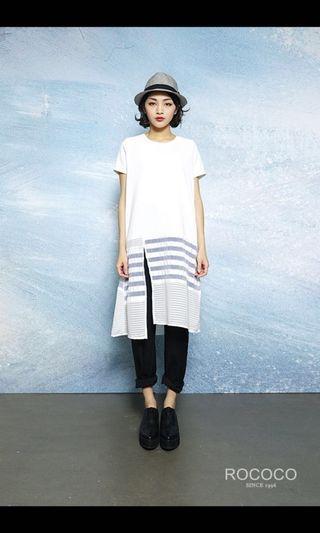 Rococo白色拼接長衫/ 裙