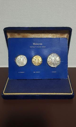 1976 Coinage of Malaysia Commemorating Malaysia Third Plan Gold Silver Nickel Proof Coin set