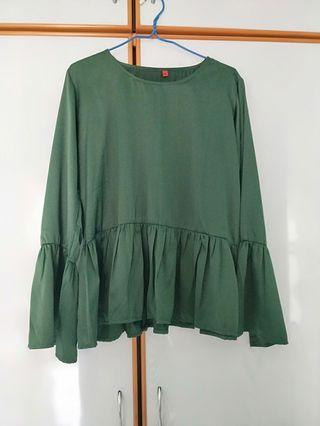 Green babydoll top