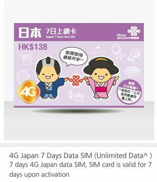 日本8日上網卡 Japan 8days unlimited data sim card