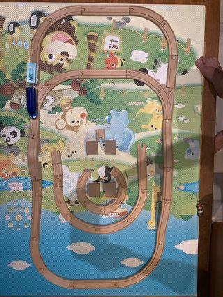 Wooden Train tracks about 45 pieces