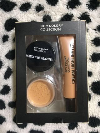 ✨City Color Collection Champagne Glow Powder Highlighter & Cream Highlighter Set✨