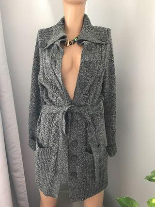 Long grey belted Cardigan - small