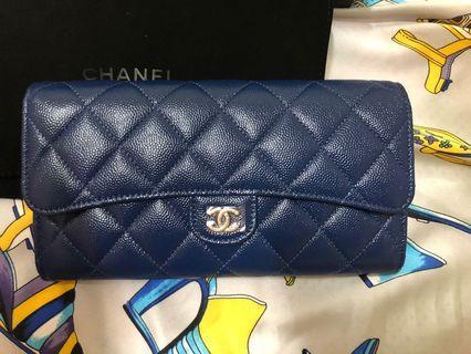 🚚 Chanel長夾(深藍色)荔枝牛皮