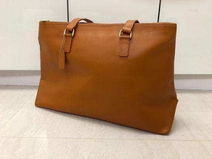 🚚 [奇怪的孩子]古著日本品牌真皮褐色大包包