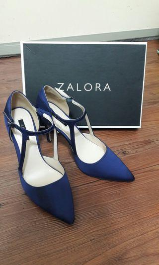 Zalora 紫藍色 細跟綁帶高跟鞋 近全新 39號