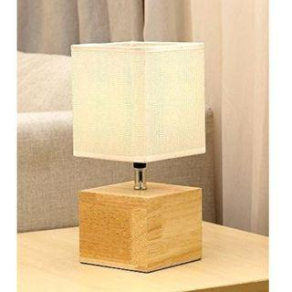 HOMPEN Natural Wood Base Table Lamp with 5V/2A USB Charging Port