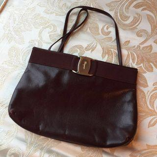 (蝕讓) Ferragamo Vintage Wine Red Bag Rare Lizard Leather 復古 中古 古董 酒紅 手袋