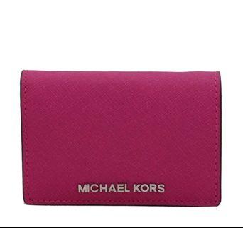 c7f46564c9c3f2 Michael Kors Leather Mercer Flap Hot Pink Card Holder Wallet. 🙂😍❤