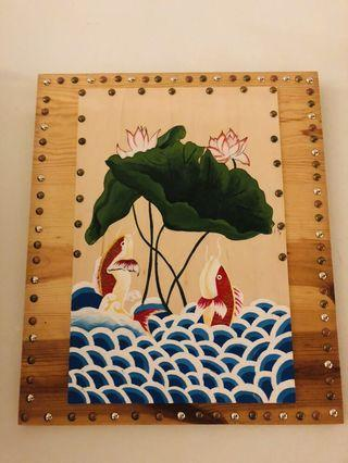 Chinese painting with solid wood