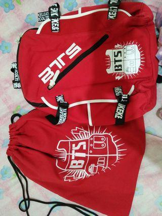 BTS Backpack & String Bag