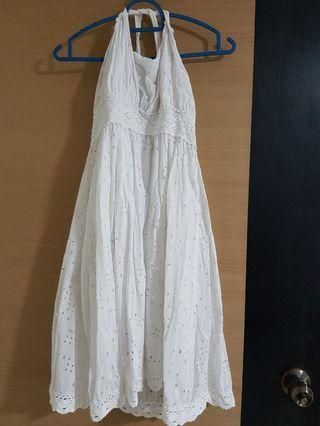 White Hang Neck Dress