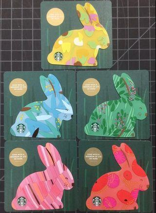 🚚 Starbucks Easter Bunny Cards Set from USA 2019