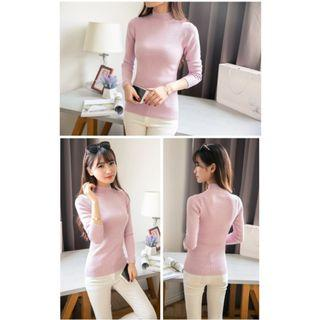 Soft Pink Knitted Long Sleeve Turtleneck Top