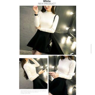 White Knitted Long Sleeve Turtleneck Top