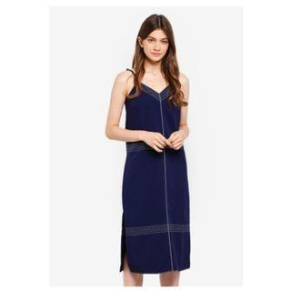 Something Borrowed Contrast Stitching Midi Dress