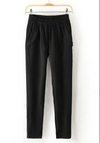 Black Elastic Pants
